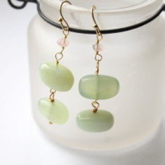 Jade and rose quartz earrings