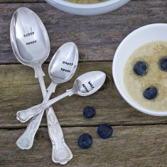 Personalised silver plated vintage family spoon set