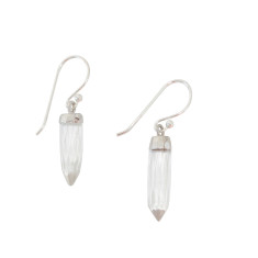 Silver crystal point earrings