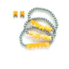 Little flags triple strand bracelet and earring set