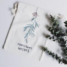 Christmas mistletoe canvas gift bag