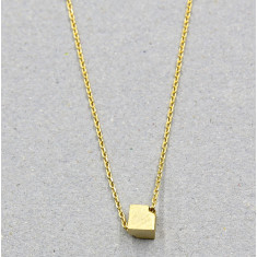 Cube necklace in gold