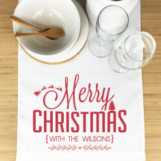 Sleigh and Tree Personalised Christmas table runner (3 sizes)