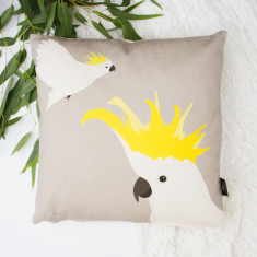 Cockatoo Cushion in Grey and Yellow