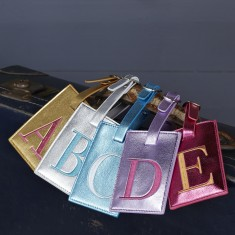 Metallic Embroidered Monogram Luggage Tag