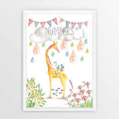 Watercolour Numbers Educational Art Print