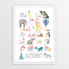 watercolour alphabet educational art print - Prints For Kids