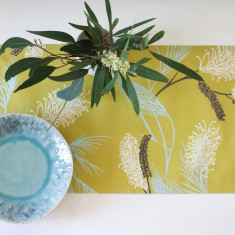 Grevillea table runner in chatreuse