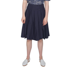 Navy Pleated Cotton Wrap Skirt