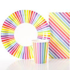 Rainbow plates, cups & matching treat bag pack (set of 10)