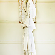 Linen lattice scarf in stone