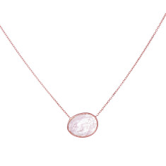 Pebble central stone necklace with morganite