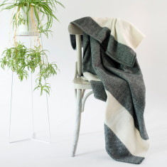 Hemmed Merino Wool Throw Rug in Charcoal & Natural