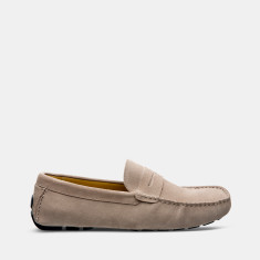 Flap Suede Loafers Men's Shoes Taupe