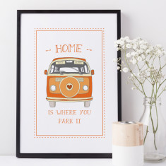 Home is where you park it camper van print (various colours)