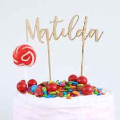 Personalised Name rustic birthday cake topper