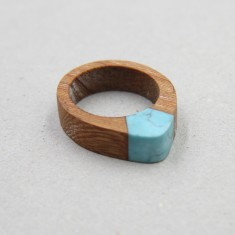 Rosewood Ring with Gemstone Inlay