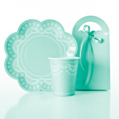 Tiffanesque blue cups, plates & treat box pack (set of 10)