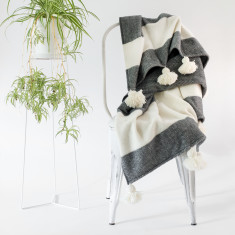 Pom Pom Merino Wool Throw Rug in Charcoal & Natural