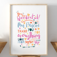 You Are Wonderful Thank You Teacher Print