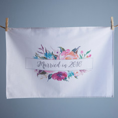 Floral Married in 2016 Tea Towel