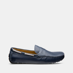 Flap Leather Loafers Men's Shoes In Navy Grain Blue
