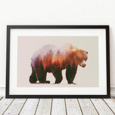Brown bear double exposure art print