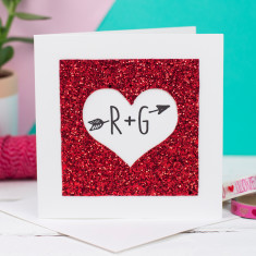 Personalised glitter heart card