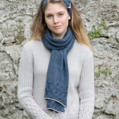 Alpaca unisex cable knit long scarf