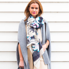 Magnolia imprints oversized scarf