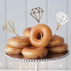 Three Gold Diamond Doughnut Cake Toppers