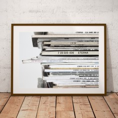 Vintage Record Stack Music Print