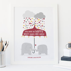You make me happy elephant love print