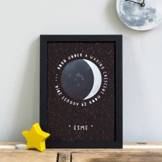Personalised new baby moon phase print
