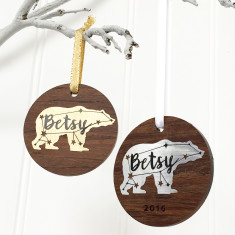 Metallic and Wooden Constellation Polar Bear Christmas Tree Decoration