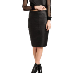 Black lambskin ST2 leather skirt