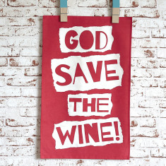 God save the wine tea towel in red