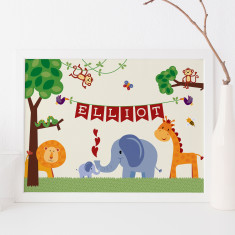Personalised jungle animal nursery art print