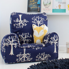 Navy orchard bean bag chair cover