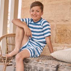 Classic Summer Stripe Pjs in Blue
