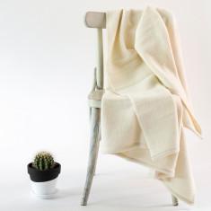 Hemmed Merino Wool Throw Rug in Natural