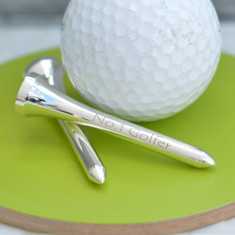 Personalised set of Silver Plated Golf Tees