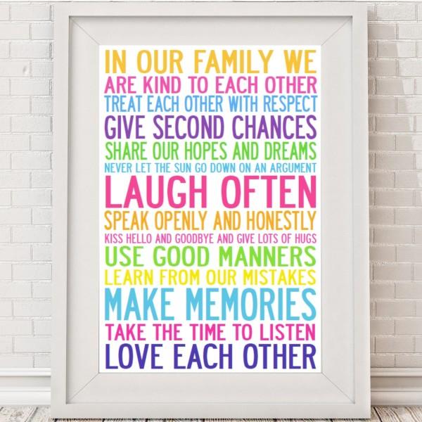 Family Rules Manifesto Print Hardtofind
