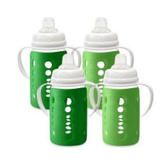 Colour change glass wide neck sippy cup in apple (pack of 4)