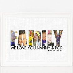 Personalised Family Photo Word Print