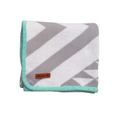 Grey & white Aztec blanket with mint trim