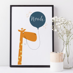 Personalised giraffe kid's name print