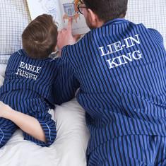 Personalised Traditional Button Pyjamas Dad & Me Set