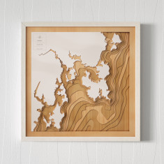 Wooden 3D Contour Map of Hobart