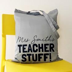 Personalised teacher stuff tote bag